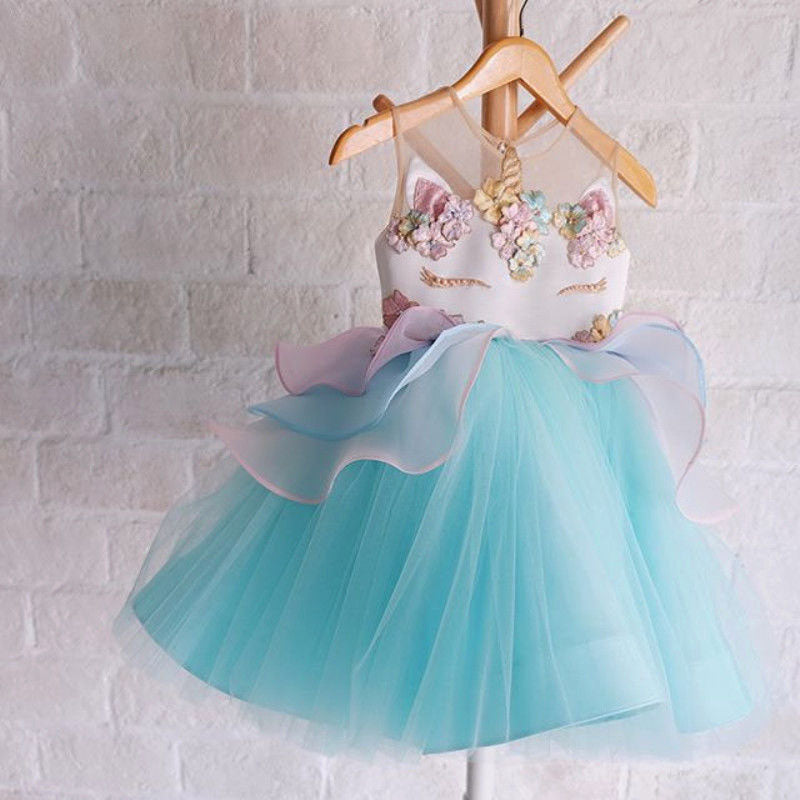3db7bef032a4c Chiffon Baby Girls Unicorn Dress Wedding Party Formal Baby Girl Dress  Birthday Dress for Baby Girl