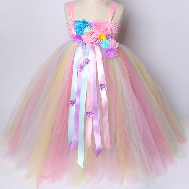 eecb75cb4b Girls Unicorn Tutu Dress Pastel Rainbow Princess Flower Girl Party Dresses  Children Kids Birthday Halloween Unicorn Costume