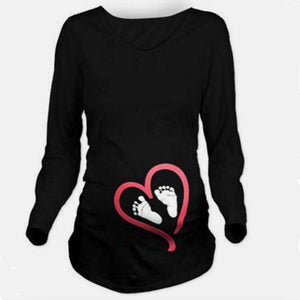 Maternity Clothes New Footprint Love Print Casual Pregnancy Shirts Pregnant Women Shirts Plus Size Clothes for Pregnant Women