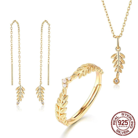 2019 Genuine 925 Sterling Silver Jewelry Sets For Women Zircon Diamond Gold Olive Leaf Earrings Ring Pendant Necklace  Gift for Girls