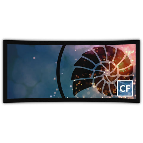 Deluxe Curved Series, cf Screens from Severtson Screens have a slight curve, and 2.35 to 1 UltraWide cinema format designed to deliver a more immersive experience.