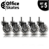 Office Chair Caster Wheels Replacement (Gray, Set of 5) - Heavy Duty & Safe for Protecting Hardwood Floors - Smooth Rollerblade Style Rubber Rollers - Universal for most Computer Desk Chairs