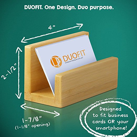 Business Card Holder 100% Eco-Friendly Bamboo - Organizer Display Stand Case 2-in-1 Cell Phone Dock - for Desktop Filing, Men or Women, easily Replaces a Wallet or Rolodex