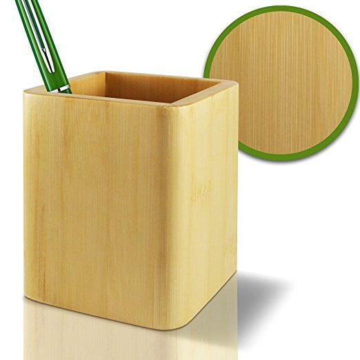 Pencil Cup Holder 100% Eco-Friendly Bamboo - Box for Desk Cute Case Organizer Jar Container for Desktop Display - Highest Quality Luxury Premium