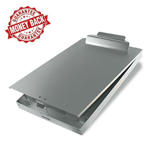 SteelClip #1 Aluminum Storage Clipboard - HIGHEST QUALITY for everyday use - Aluminum Forms Holder with Top Hinged Opening and Self-Locking Latch