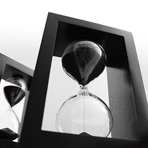 Sand Timer Hourglass Black Set, Time Management System, 60 minute/1 hour & 10 minute with Protective Wooden Box - Perfect for Office Decor