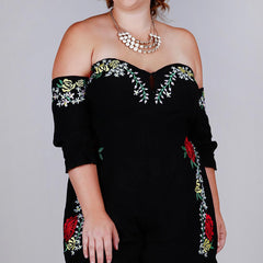 Embroidered Off The Shoulder Romper