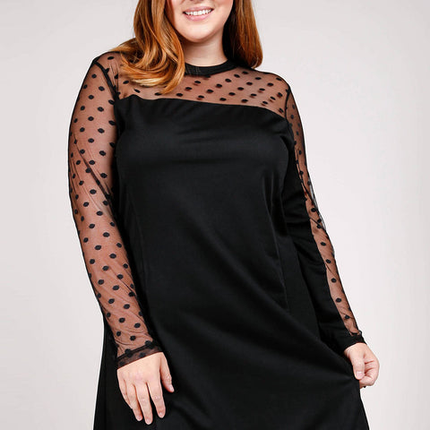 Polka Dot Mesh Insert Dress
