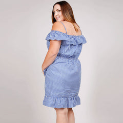 Ruffle Off Shoulder Gingham Print Dress