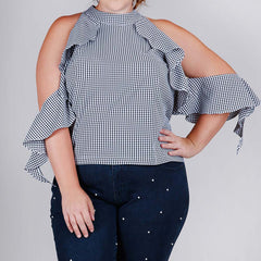 Gingham Cold Shoulder Ruffle Top