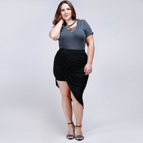 Asymmetric Slinky Pencil Skirt