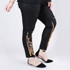 Sequin Distressed Skinny Jeans