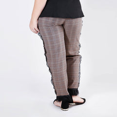 Lace Trimmed Plaid Trousers