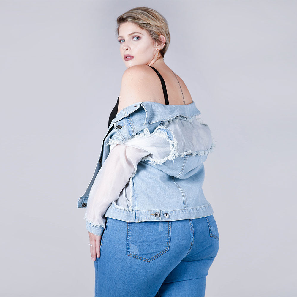 Sheer Mesh Paneled Denim Jacket