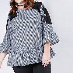 Ruffle Gingham Patched Lace Tunic
