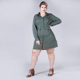 Corset Belted Shirt Dress