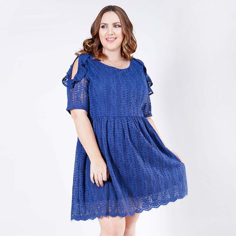 Ruffled Cold Shoulder Fit and Flare Lace Dress