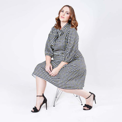Checker Print Tie-Neck Midi Dress
