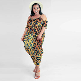 Cold Shoulder Harem Pant Jumpsuit