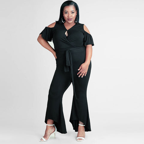 Plunging Short Sleeve Flare Jumpsuit