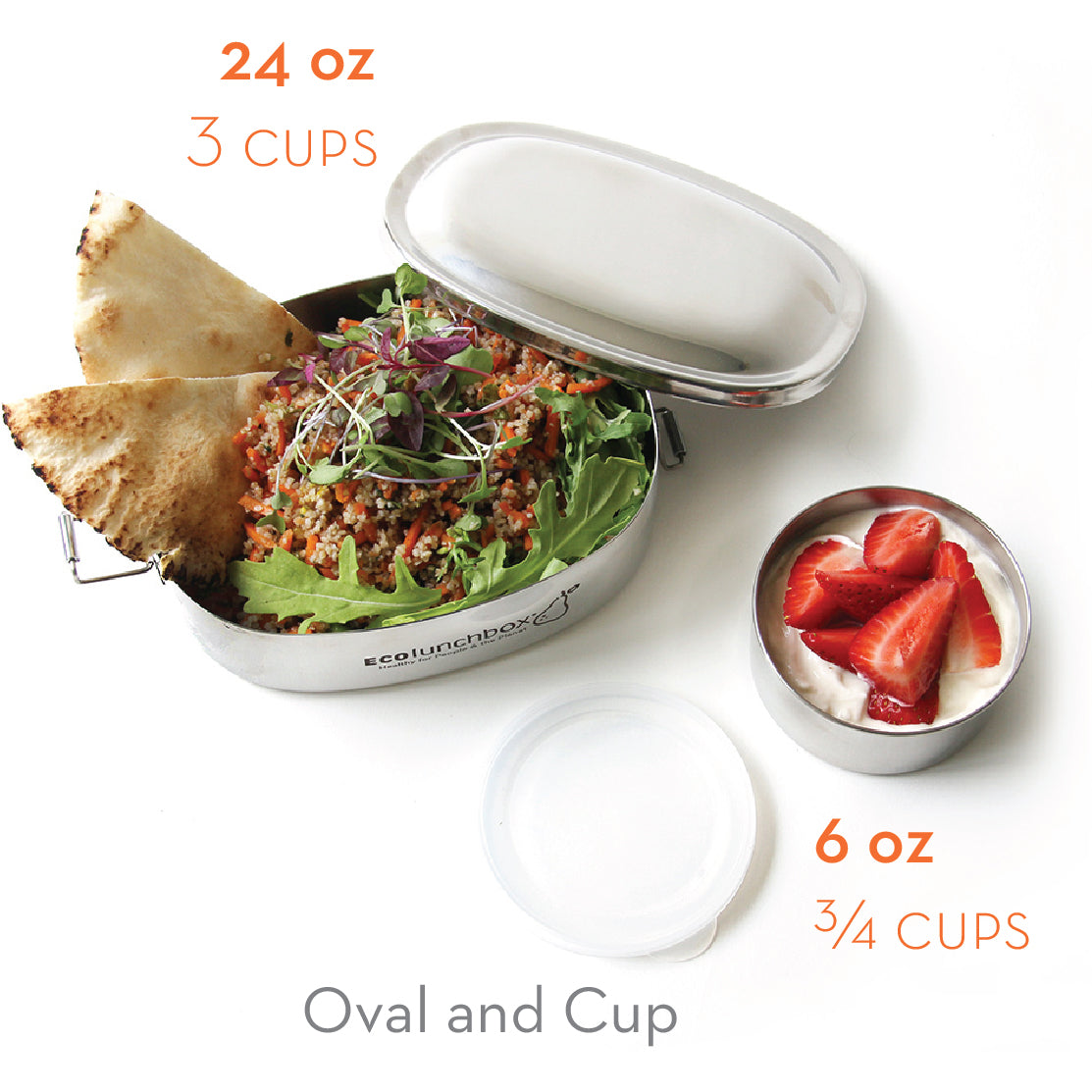 Ecolunchbox Oval & No-Leak Snack Cup (2-Piece Set)
