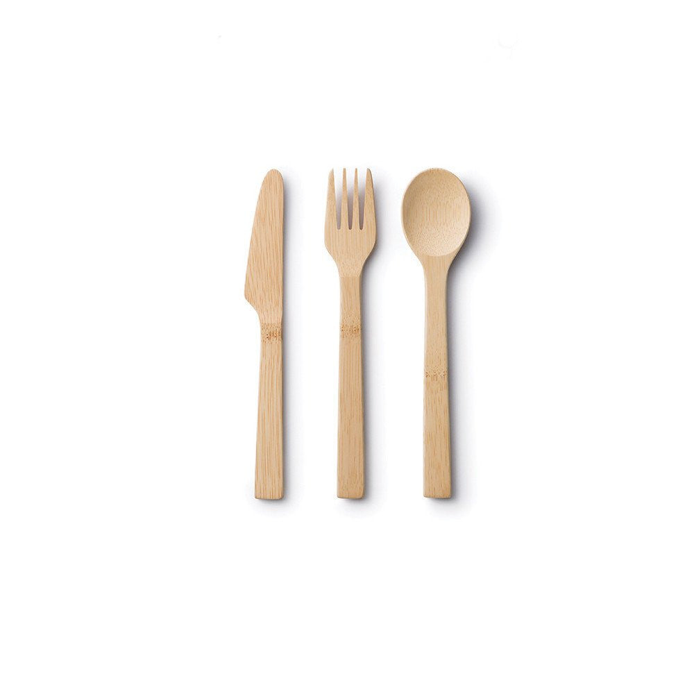 Bamboo Knife, Fork & Spoon Set
