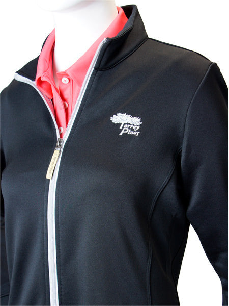 Torrey Pines Women's Private Label Full Zip Jacket - Black - Merchandise and Services from The Golf Shop at Torrey Pines