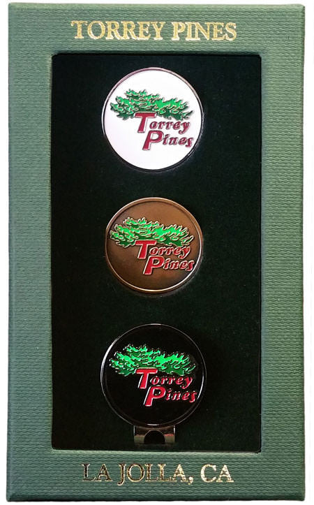 Torrey Pines Ball Markers with Hat Clip Gift Box Set - Merchandise and Services from The Golf Shop at Torrey Pines
