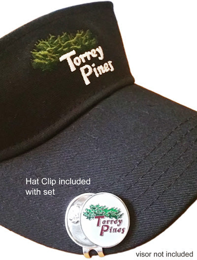 Torrey Pines Ball Markers with Hat Clip Gift Box Set