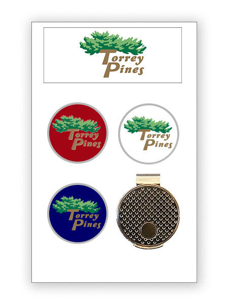 Torrey Pines Hat Clip and Ball Marker Set - Merchandise and Services from The Golf Shop at Torrey Pines