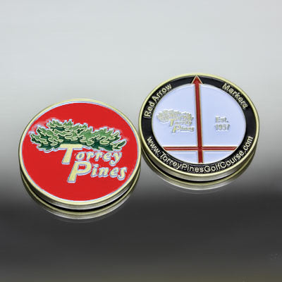 Torrey Pines Red Arrow Medallion Ball Marker - Merchandise and Services from The Golf Shop at Torrey Pines