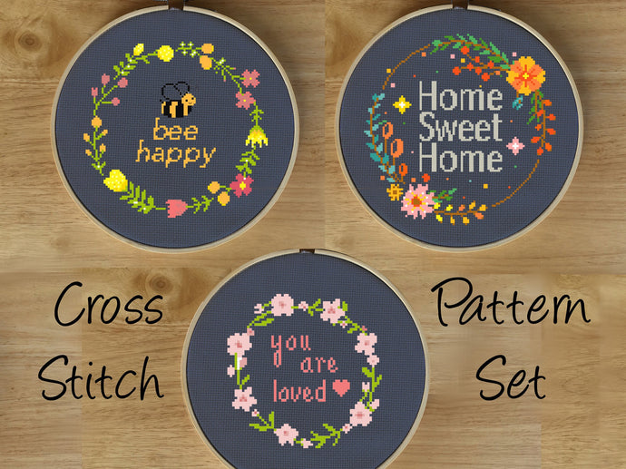 Modern Cross Stitch Pattern Set, Quote Cross Stitch Pattern Set - Cross Stitch PDF Set, Flower Cross Stitch Pattern Set, Flower Gift Charts