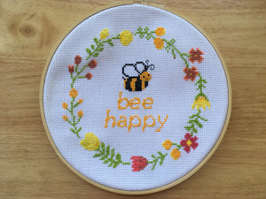 quote cross stitch pattern, bee cross stitch, happy cross stitch