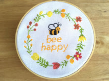 Floral Wreath Cross Stitch Pattern, bee happy cross stitch