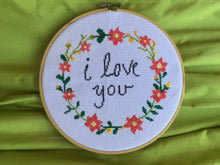 Floral Wreath Cross Stitch Pattern, i love you cross stitch