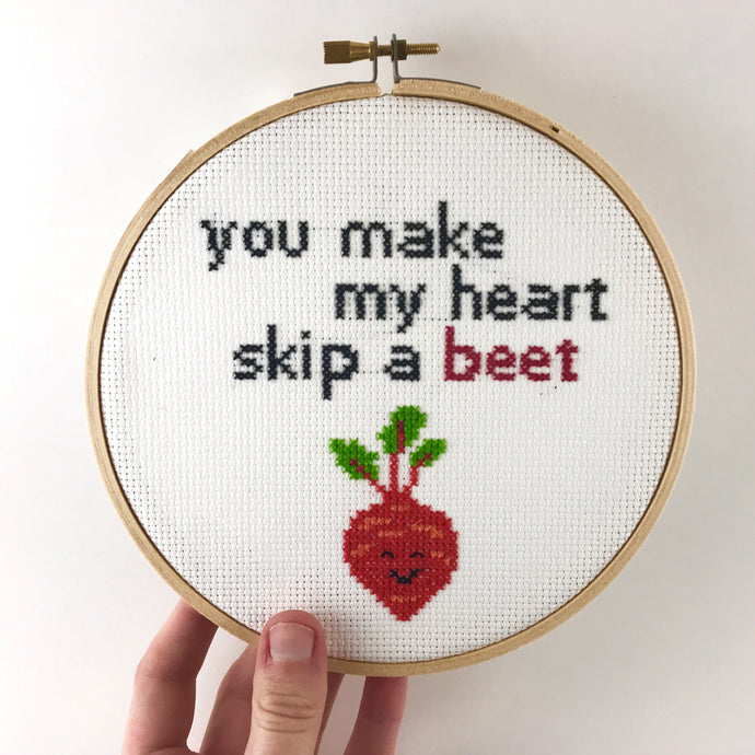Romantic Sweet Cross Stitch Saying, Clever Word Pun - You Make My Heart Skip a