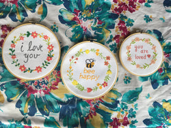 "Modern Cross Stitch Pattern Set - 3 Quote Patterns - Bee Happy, ""I Love You,"" & ""You Are Loved"" - Floral Flower Wreath"