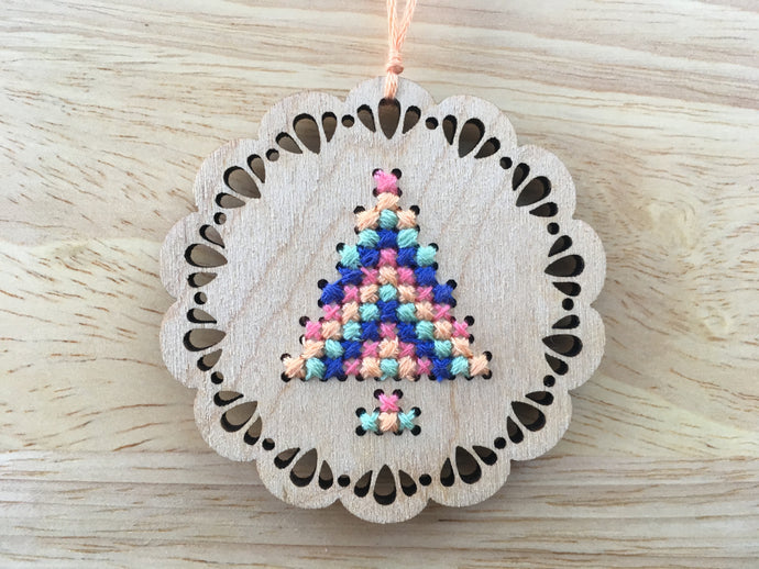 Modern Christmas Ornament Cross Stitch Kit - Pendant