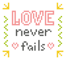 Beginner Quote Cross Stitch Pattern - Love Never Fails