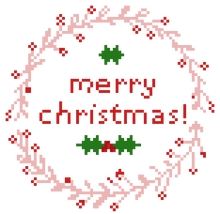 Christmas Wreath Cross Stitch Pattern, Merry Christmas