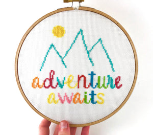 Adventure Awaits Cross Stitch Pattern - Wanderlust, Travel, Mountains