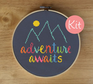quote cross stitch kit, adventure awaits