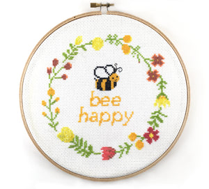 Modern Bee Happy Quote Cross Stitch Pattern
