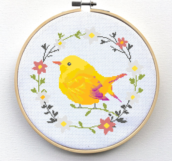 Bird Cross Stitch Pattern - Floral Wreath Cross Stitch Pattern
