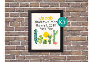 Cactus Birth Announcement Cross Stitch Kit - Baby Nursery Gift