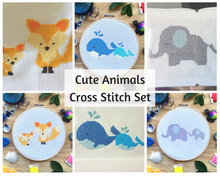 Cute Animal Cross Stitch Pattern Set - Fox, Elephant, and Whales