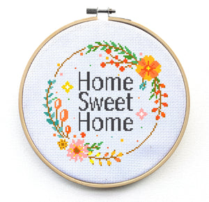 Home Sweet Home Cross Stitch Pattern, floral wreath, flowers, home decor, modern cross stitch patterns