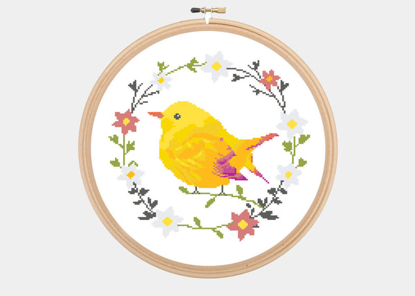 Cross Stitch Pattern - Floral Wreath - Cute Colorful Yellow Bird - Instant Download