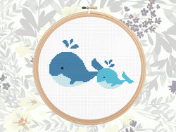 Baby Nursery Cross Stitch Pattern - Adorable Whales Counted Cross Stitch Design