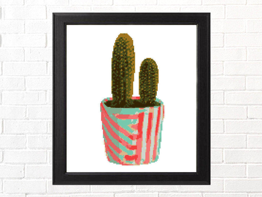 Potted Cactus Cross Stitch Pattern - Pink and Blue Pot, Modern Succulent Pattern